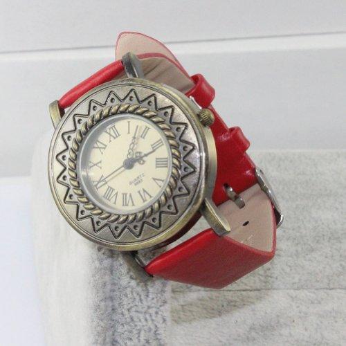 Leexgroup®Lucky Red Vintage Roman Number Leather Wrap Wristband Bracelet Quartz Watch For Women Ladies