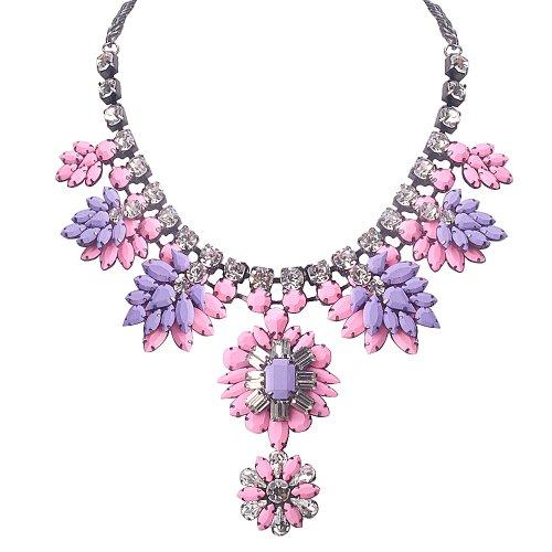 Jane Stone Eastern Mystic Glam Punk Purple&Pink Flower Necklace Elegant Classic Chunky Cowgirl Bib Jewelry Party Uniform Bridal Jewellery(Fn0895-Purple&Pink) front-527872