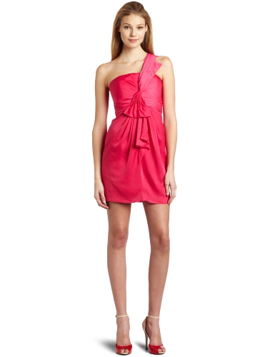 BCBGMAXAZRIA Women's Palais One Shoulder Luxe Satin Dress, Begonia, 4