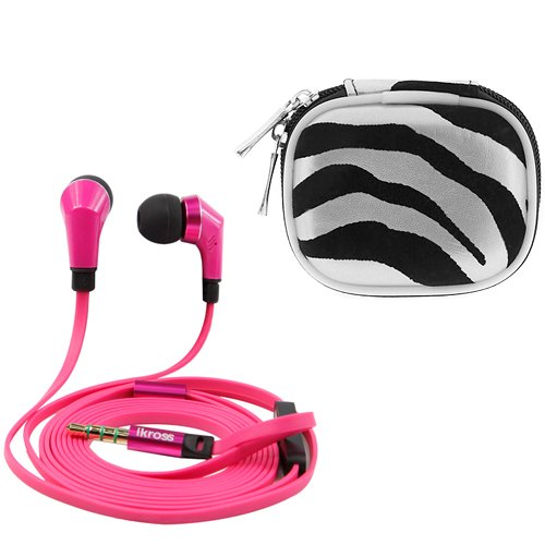 Ikross Hot Pink / Black In-Ear 3.5Mm Noise-Isolation Stereo Earbuds With Microphone + Silver Zebra Accessories Carrying Case For Samsung Galaxy S5/ S4, Galaxy Note 3/ 2/ Mega, Galaxy Tab 4 (10.1/ 8.0/ 7.0 Inch),
