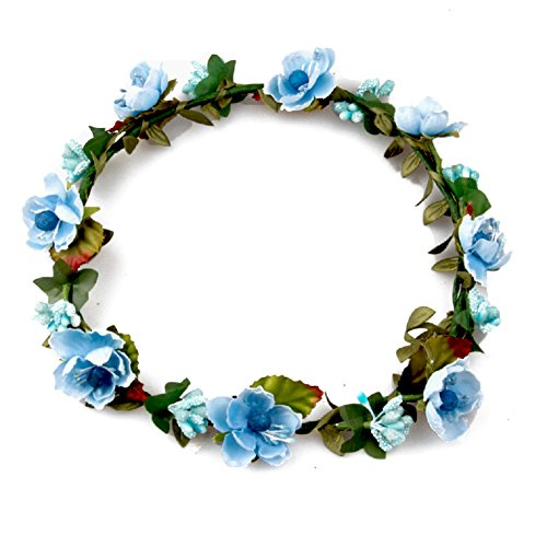 Floral Fall BOHO Headband Flower Crown Festival Wedding Beach Hair Wreath F-01 (Blue)
