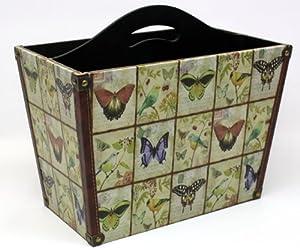 Wooden Magazine Rack of Butterflies and Birds