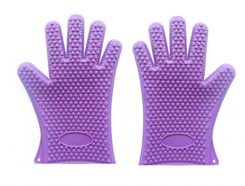uHome Silicone Heat Resistant Glove Five-Fingered Grip 1 Pair purple