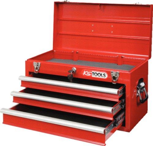 891.0003 Werkzeugkiste aus Metall/ 3Schubl./rot