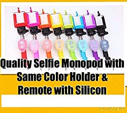 Selfie Stick Monopod - Premium Design Monopod with detachable Bluetooth Remote Shutter Camera Triggerfor Camera, Mobile Phone Extendable inbuilt Bluetooth sold by KWALITY KART ESSENTIALS