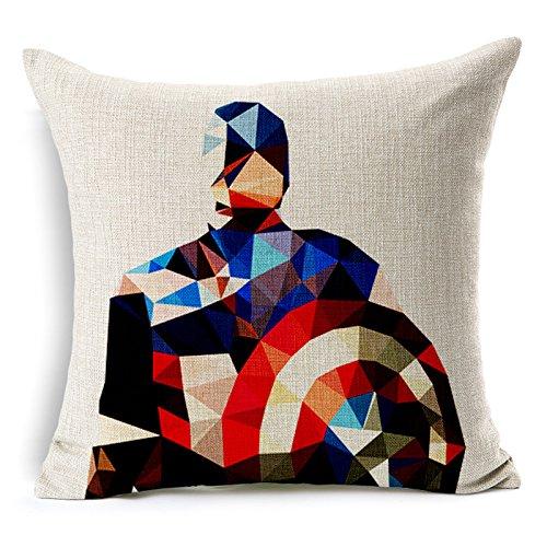 """SilkCrane Cuscino, Geometric Captain America Cotton Linen Decorative Throw Pillow Cover, 17.7"""" x 17.7"""""""