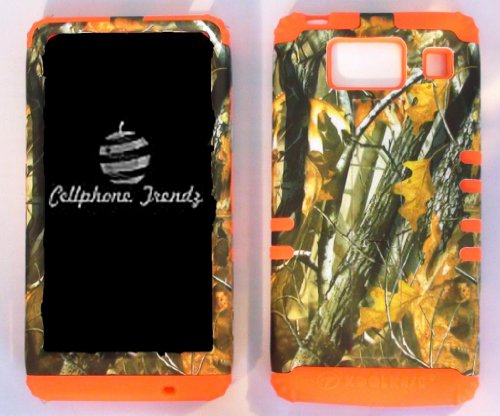 CellPhone Trendz Hybrid 2 in 1 Case Hard Cover Faceplate Skin Orange Silicone and Camo Mossy Hunter Big Branch Oak Snap Protector for Motorola Droid Razr Maxx HD XT926M by Verizon (Not for Droid Razr Maxx) With Cellphone Trendz (TM ) Glow in Dark Silicone Wrist Band