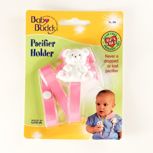 Baby Buddy Bear Pacifier Holder, Pink front-376787
