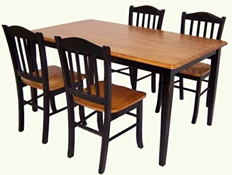 Boraam 80536 5-Piece Shaker Dining Room Set, Black/Cherry