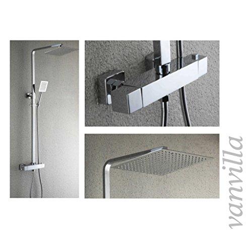 vanvilla Thermostat SEDAL Duschset Duscharmatur mit 30x30cm Edelstahlduschkopf und Handbrause 6192-12 Duschsystem Duschgarnitur Duschset