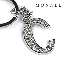 Z286 Bling Crystal Alphabet Initial DIY Letter C Keychain Key Ring for Pet Dog Cat Collar by monnelF