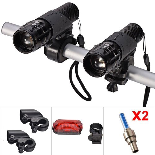 Mudder® Bike Light Set Front And Back (2Pcs Cree Q5 Led Head Lights, 2 Hand Bar Flashlight Holders, Tail Rear Light And 2 Wheel Valve Lights As Gifts) Zoomable Twin Front Torch Up To 500 Lumen, High Low Strobe Mode To Feed Different Need, Widely Used In M