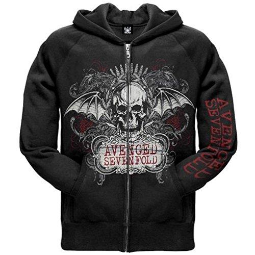 Avenged Sevenfold _decorato con cappuccio e zip nero X-Large