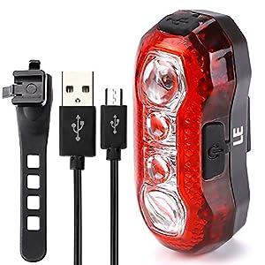 LE Luz trasera para bicicletas USB recargable 3W, resistencia al agua, 4 LEDs, 5 modos de iluminación, cable USB incluido, adaptable a cualquier tipo de bicicleta, cascos o mochilas, seguridad y advertencia