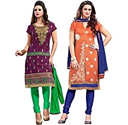 PARISHA Present 2 Pieces combo Purple & Orange Embroidered Un-stitched Straight Suit 2ASG5109-10