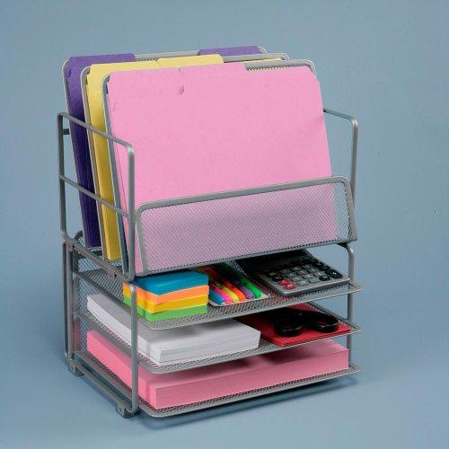 Seville Classics Office Desk Organizer Letter Size Mesh  Trays