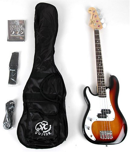 SX BG1K 3/4 LH 3TS Sunburst Left Handed Bass Guitar Package w/BA1565 AMP and Instructional DVD