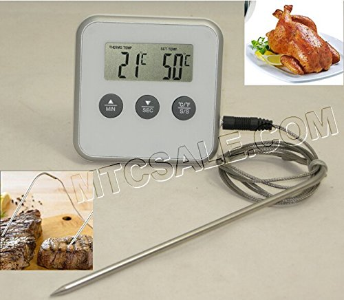 Digital BBQ Grill Smoker Meat Thermometer With Probe,Temperature Gauge&Alert For Kitchen Food Cooking/Oven/Water/Milk,Etc.