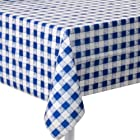 Creative Converting Plastic Banquet Table Cover, Blue Gingham