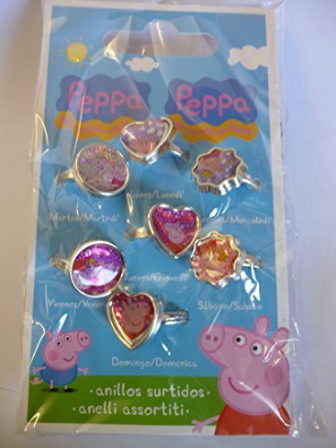 Pack Of 7 Day Of The Week Peppa Pig Fashion Rings- Party Bag Fillers - Girls Toys