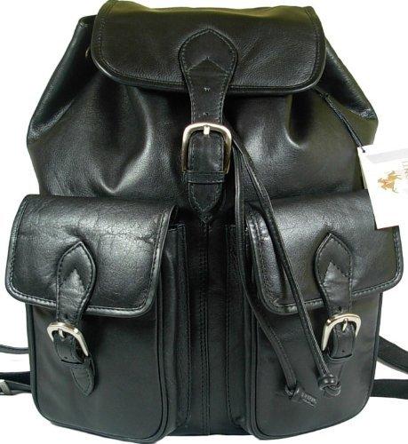 New large Visconti unisex black soft leather rucksack backpack bag 1699