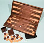 Backgammon set walnut with inlaid top...