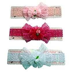 VOGUE White and Pink Babies Stretch Hair bands Headbands Soft Hairbands Set of -3