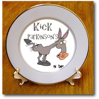 Cp_115641_1 Dooni Designs Cause Awareness Ribbon Designs - Kick Parkinsons Disease In The Ass Awareness Ribbon Cause Design - Plates - 8 Inch Porcelain Plate
