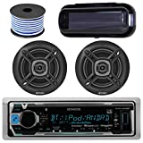 Kenwood Bluetooth Radio KMR-M315BT In-Dash Marine Audio Receiver Bundle Combo With Pair Of Enrock 6.5