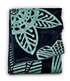 Citta Design 'Isla' Designer Oversized Beach Towel Navy/Light Aqua, Beautiful Indian Cotton, 38x70 inches