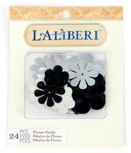 EK Success Brands Laliberi Flower Petals, Faux Leather Black, White and Silver