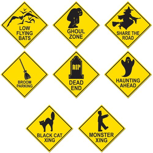 Beistle - 01614 - Halloween Road Sign Cutouts- Pack of 4