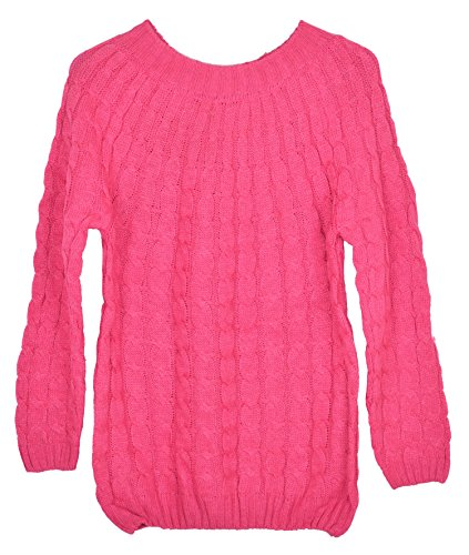 Womens Loose Classical Small Twist Pullover Knitwear Sweater (Rose Red)
