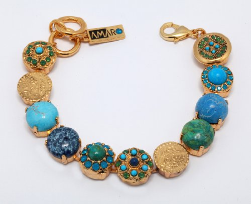 'Inspiration' Collection 24K Yellow Gold Plated Dramatic Bracelet by Amaro Jewelry Studio Embellished with Sodalite, Amazonite, Lapis Lazuli, Chrysocolla, Turquoise and Swarovski Crystals