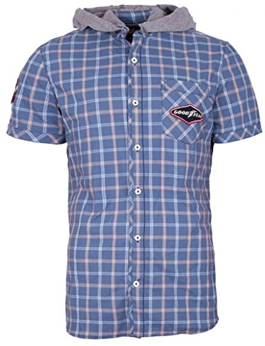Goodyear camicia Tuscon Men Slim Fit shirt - Blue/White, nuovo multicolore L