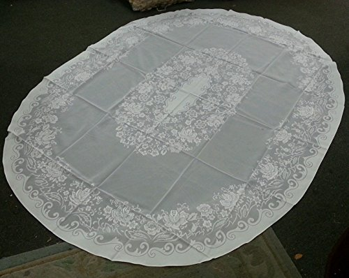 White Vintage Tablecloth Oval Floral Design Wedding Parties Wrinkle Free Size 65x84