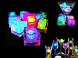 12Pcs Amazing Flashing Ice Cubes / Rocks, Liquid Sensor Multi-color Lights,Party Wedding Club Bar Champagne Tower Decoration