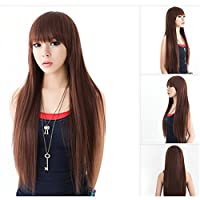 EVTECH(TM) High Quality Women's Long Full Straight Glamour Hair Wig Fashion(Dark Brown)