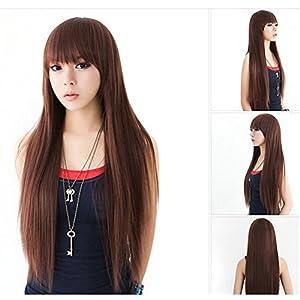 EVTECH(TM) High Quality Women's Long Full Straight Glamour Hair Wig Fashion(Dark Brown)