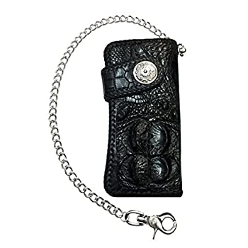 D'SHARK Luxury Biker Crocodile Skin Leather Bi-fold Snap Wallet (Black)