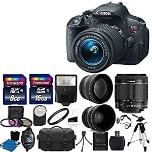 Canon EOS Rebel T5i Digital SLR Camera with EF-S 18-55mm f/3.5-5.6 IS Lens + 58mm 2x Lens +Wide Angle Lens + Flash + Strong lightweight Tripod + UV Filter Kit + 24GB Complete Deluxe Accessory Bundle