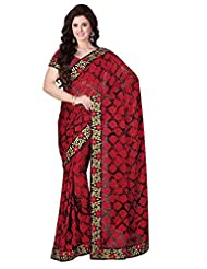 Brasso Red & Black Colour Saree For Party Wear