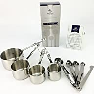 Madame Cuisine Stainless Steel Measuring Cups & Spoons Set with Precision Level, Commercial Quality