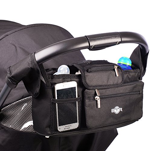 Borsa buggy BTR organizzatore per passeggino, organizzatore per carrozzina con tasca con cerniera e portafoglio. Borsa staccabile