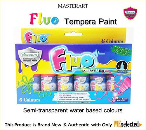 FLUO TEMPERA PAINT NEON Fluorescent colors Semi-transparent water base 6 Colours (6x1oz) (Neon Tempera Paint compare prices)