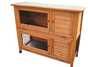 BUNNY BUSINESS Double Decker Rabbit/ Guinea Pig Hutch Sliding Plastic Trays with Deluxe Hutch Cover, 48-inch