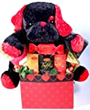 Basket of Love with Puppy | Romantic Chocolates and Cookies Gift Basket for Valentines Day