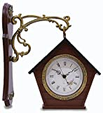 JustNile Hanging Patio Wall Clock - Double-Sided Brown Birdhouse