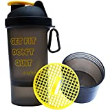 Sarva Shake Brainy Protein Shaker Bottle 500 Ml (Yellow/BlackSS-C1-104) With Strainer