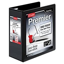 Cardinal Premier Easy Open ClearVue Locking Slant-D Ring Binder, 4-Inch, Black (10341)